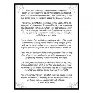 Armour of God Spiritual Warfare Prayer